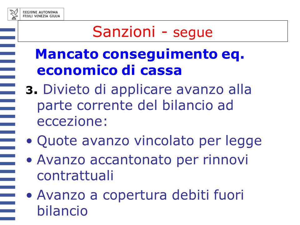 Sanzioni - segue Mancato conseguimento eq. economico di cassa 3. Divieto di applicare avanzo alla parte corrente del bilancio ad eccezione: Quote avan
