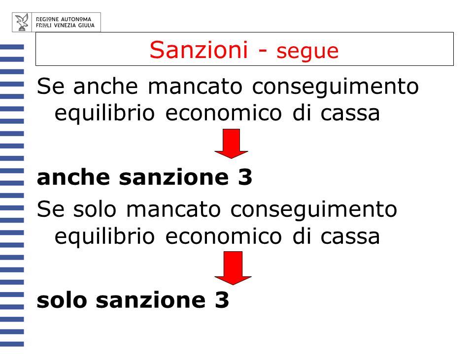 Sanzioni - segue Se anche mancato conseguimento equilibrio economico di cassa anche sanzione 3 Se solo mancato conseguimento equilibrio economico di c