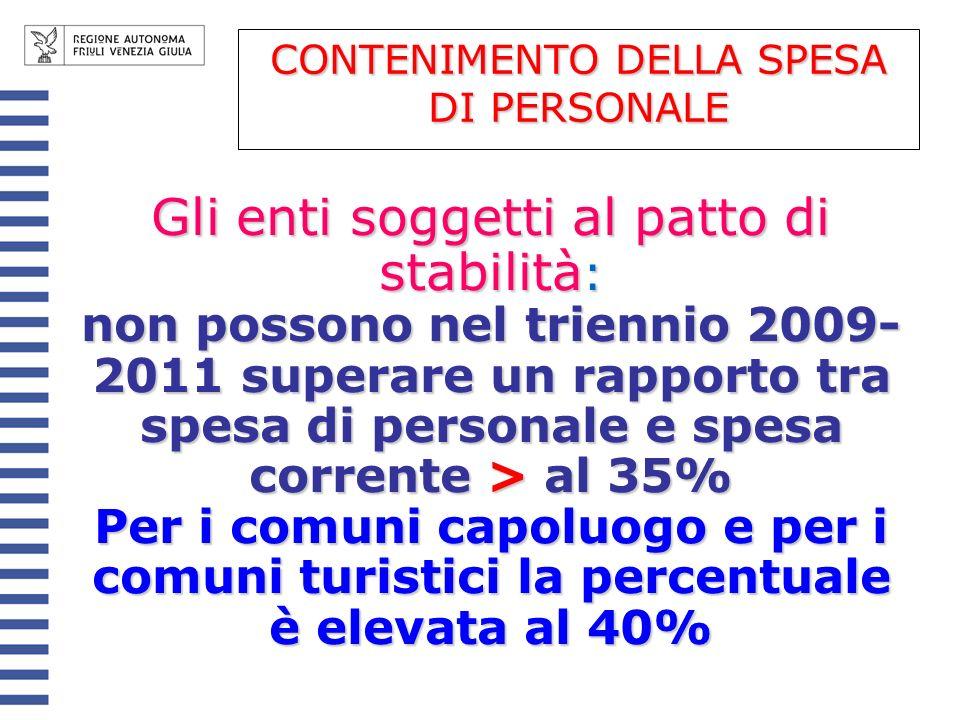 Gli enti soggetti al patto di stabilità : non possono nel triennio 2009- 2011 superare un rapporto tra spesa di personale e spesa corrente > al 35% Pe