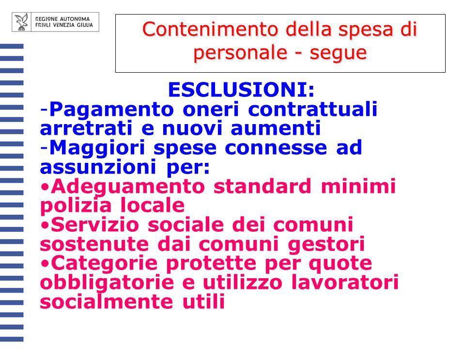 ESCLUSIONI: -Pagamento oneri contrattuali arretrati e nuovi aumenti -Maggiori spese connesse ad assunzioni per: Adeguamento standard minimi polizia lo
