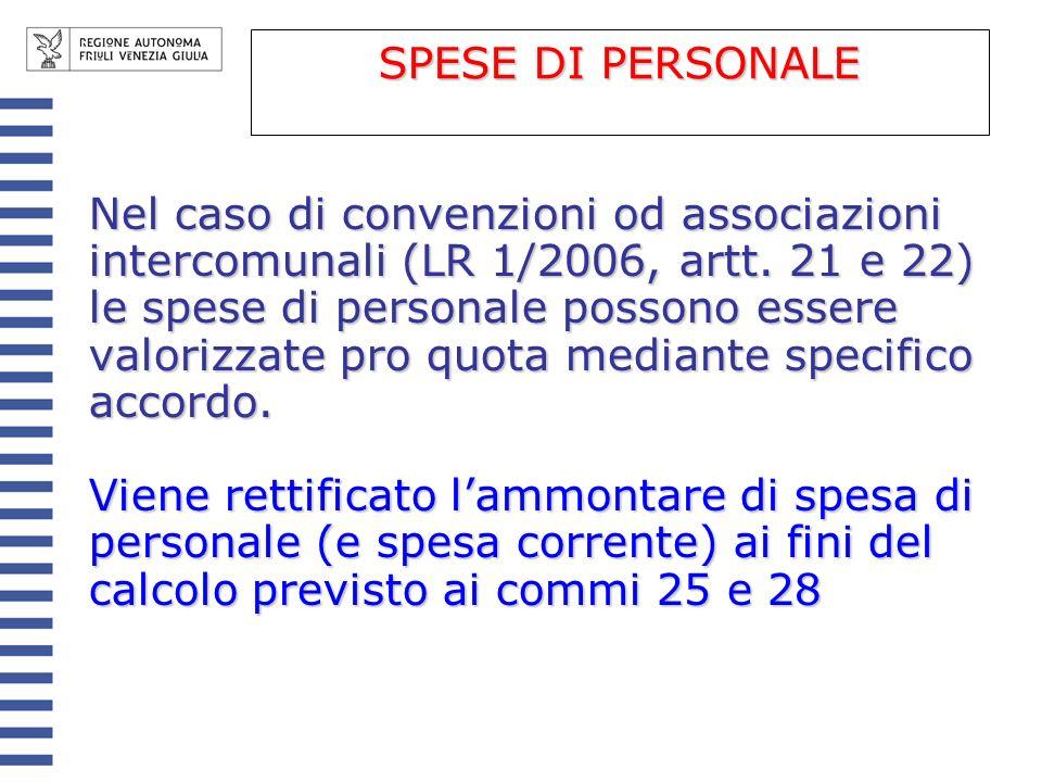 Nel caso di convenzioni od associazioni intercomunali (LR 1/2006, artt. 21 e 22) le spese di personale possono essere valorizzate pro quota mediante s