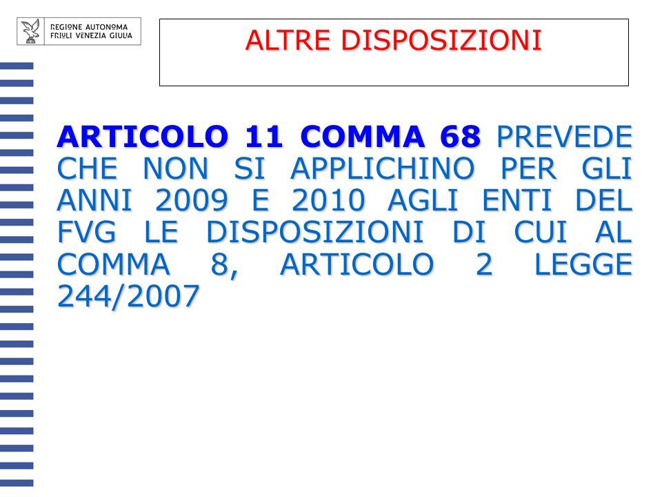 ARTICOLO 11 COMMA 68 PREVEDE CHE NON SI APPLICHINO PER GLI ANNI 2009 E 2010 AGLI ENTI DEL FVG LE DISPOSIZIONI DI CUI AL COMMA 8, ARTICOLO 2 LEGGE 244/2007 ALTRE DISPOSIZIONI