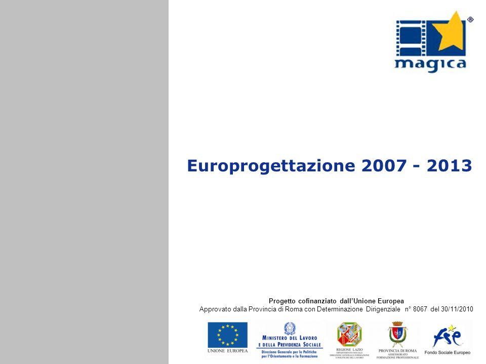 Europrogettazione 2007 - 2013 Progetto cofinanziato dallUnione Europea Approvato dalla Provincia di Roma con Determinazione Dirigenziale n° 8067 del 3