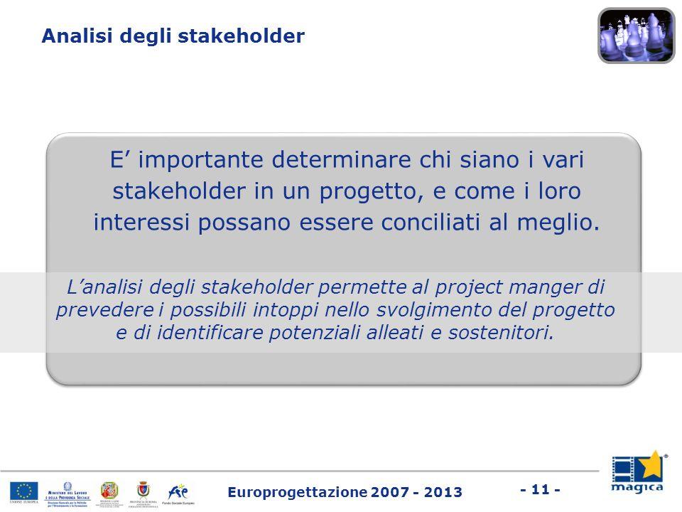Europrogettazione 2007 - 2013 - 11 - E importante determinare chi siano i vari stakeholder in un progetto, e come i loro interessi possano essere conc