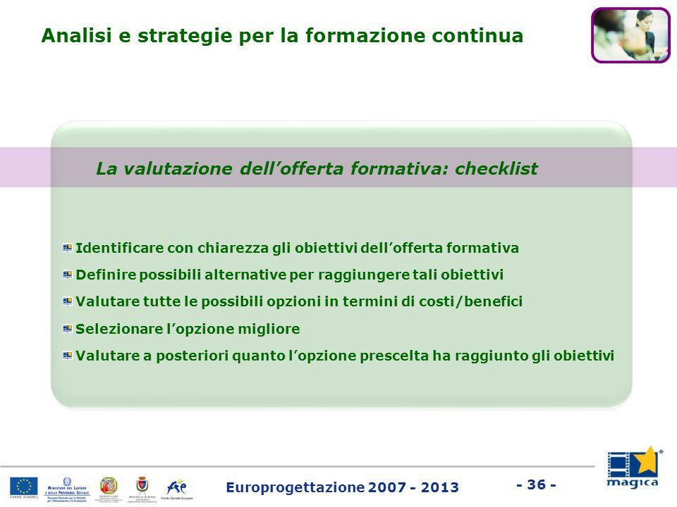 Europrogettazione 2007 - 2013 - 36 - La valutazione dellofferta formativa: checklist Identificare con chiarezza gli obiettivi dellofferta formativa De