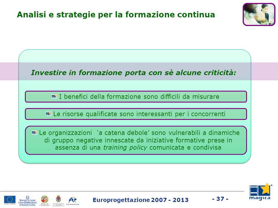 Europrogettazione 2007 - 2013 - 37 - I benefici della formazione sono difficili da misurare Investire in formazione porta con sè alcune criticità: Le