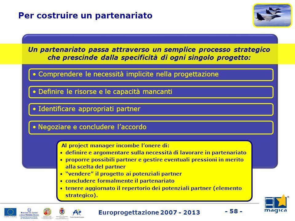 Europrogettazione 2007 - 2013 - 58 - Un partenariato passa attraverso un semplice processo strategico che prescinde dalla specificità di ogni singolo