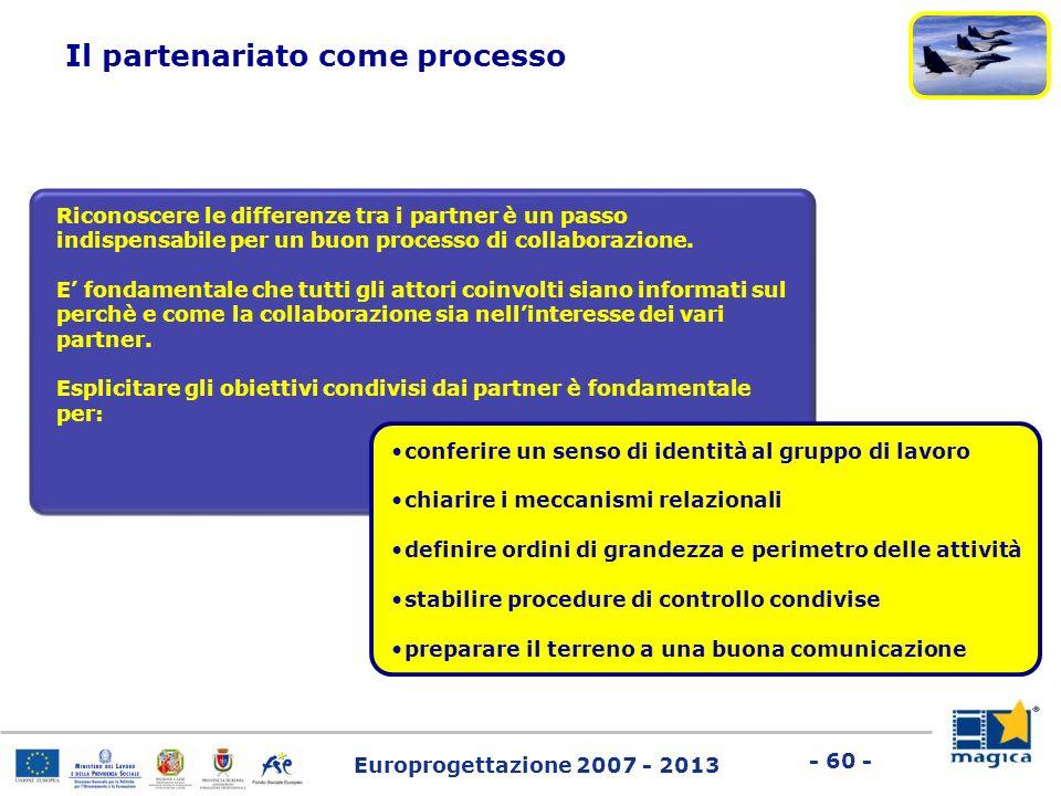 Europrogettazione 2007 - 2013 - 60 - Riconoscere le differenze tra i partner è un passo indispensabile per un buon processo di collaborazione. E fonda