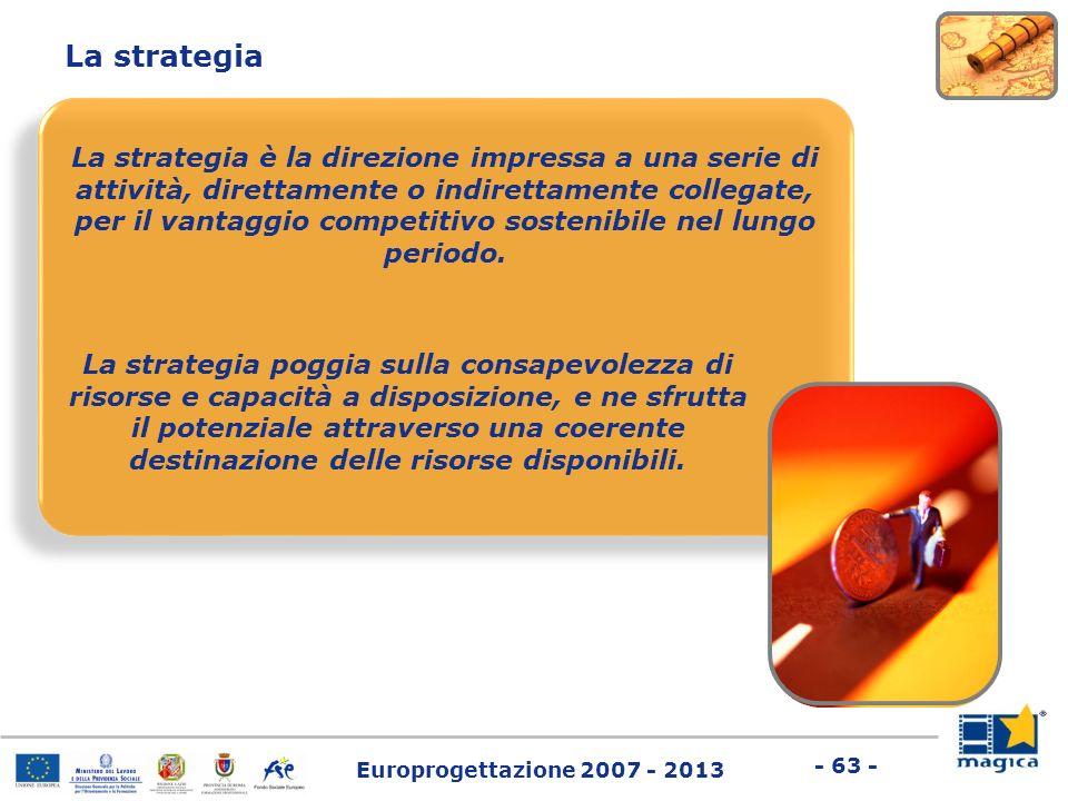 Europrogettazione 2007 - 2013 - 63 - La strategia La strategia è la direzione impressa a una serie di attività, direttamente o indirettamente collegat