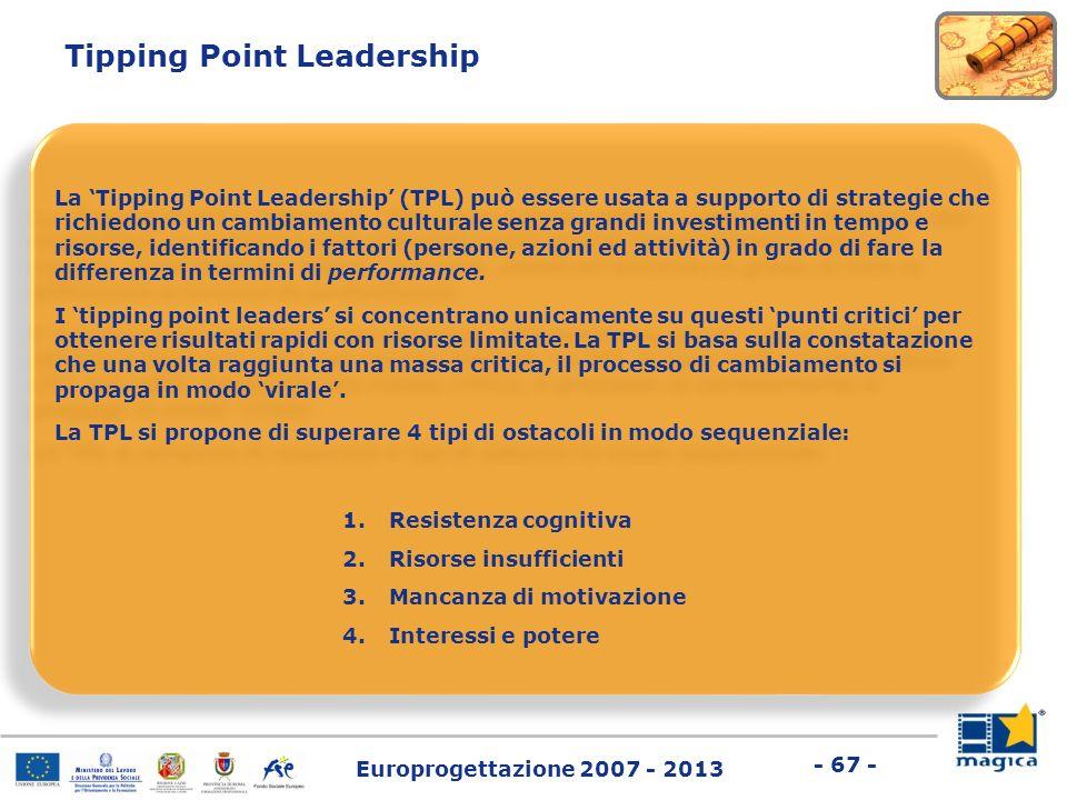 Europrogettazione 2007 - 2013 - 67 - Tipping Point Leadership La Tipping Point Leadership (TPL) può essere usata a supporto di strategie che richiedon