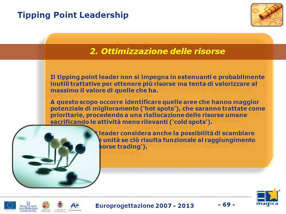 Europrogettazione 2007 - 2013 - 69 - Tipping Point Leadership Il tipping point leader non si impegna in estenuanti e probabilmente inutili trattative