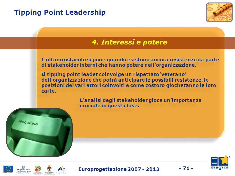 Europrogettazione 2007 - 2013 - 71 - Tipping Point Leadership Lultimo ostacolo si pone quando esistono ancora resistenze da parte di stakeholder inter
