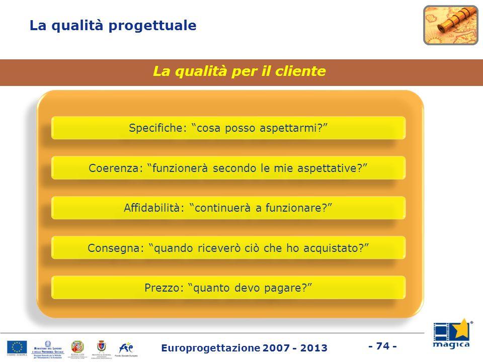 Europrogettazione 2007 - 2013 - 74 - La qualità progettuale La qualità per il cliente Specifiche: cosa posso aspettarmi? Coerenza: funzionerà secondo