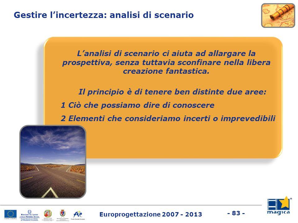 Europrogettazione 2007 - 2013 - 83 - Gestire lincertezza: analisi di scenario Lanalisi di scenario ci aiuta ad allargare la prospettiva, senza tuttavi
