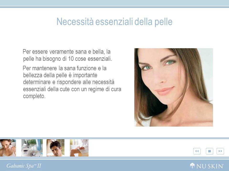 Necessità essenziali della pelle Per essere veramente sana e bella, la pelle ha bisogno di 10 cose essenziali. Per mantenere la sana funzione e la bel