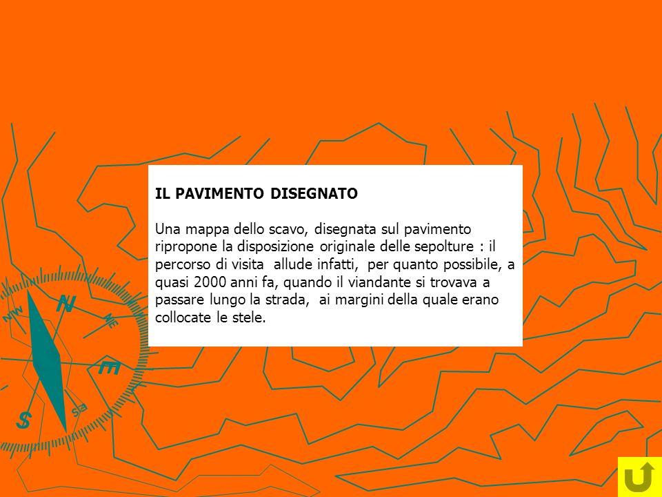 IL PAVIMENTO DISEGNATO Una mappa dello scavo, disegnata sul pavimento ripropone la disposizione originale delle sepolture : il percorso di visita allu