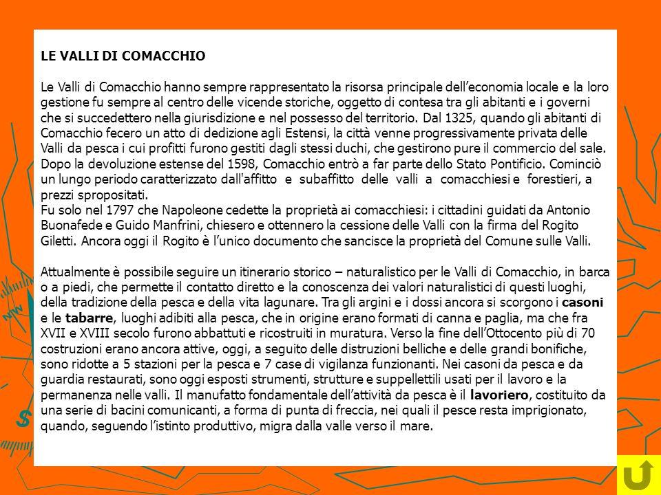 LE VALLI DI COMACCHIO Le Valli di Comacchio hanno sempre rappresentato la risorsa principale delleconomia locale e la loro gestione fu sempre al centr