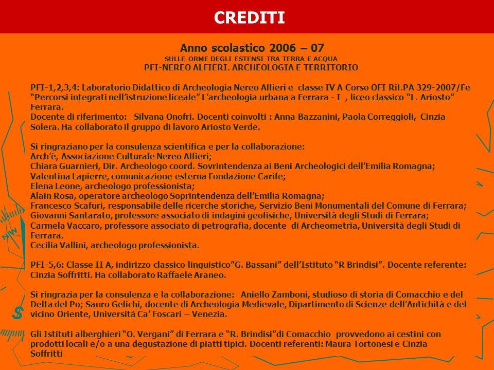 CREDITI Anno scolastico 2006 – 07 SULLE ORME DEGLI ESTENSI TRA TERRA E ACQUA PFI-NEREO ALFIERI. ARCHEOLOGIA E TERRITORIO PFI-1,2,3,4: Laboratorio Dida