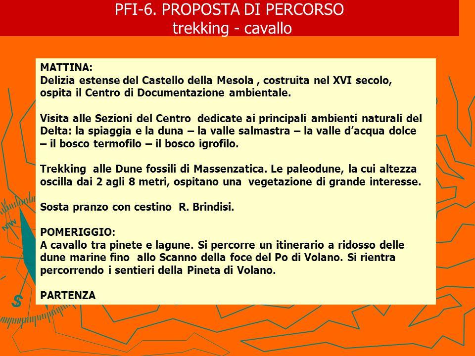 PFI-6. PROPOSTA DI PERCORSO trekking - cavallo MATTINA: Delizia estense del Castello della Mesola, costruita nel XVI secolo, ospita il Centro di Docum