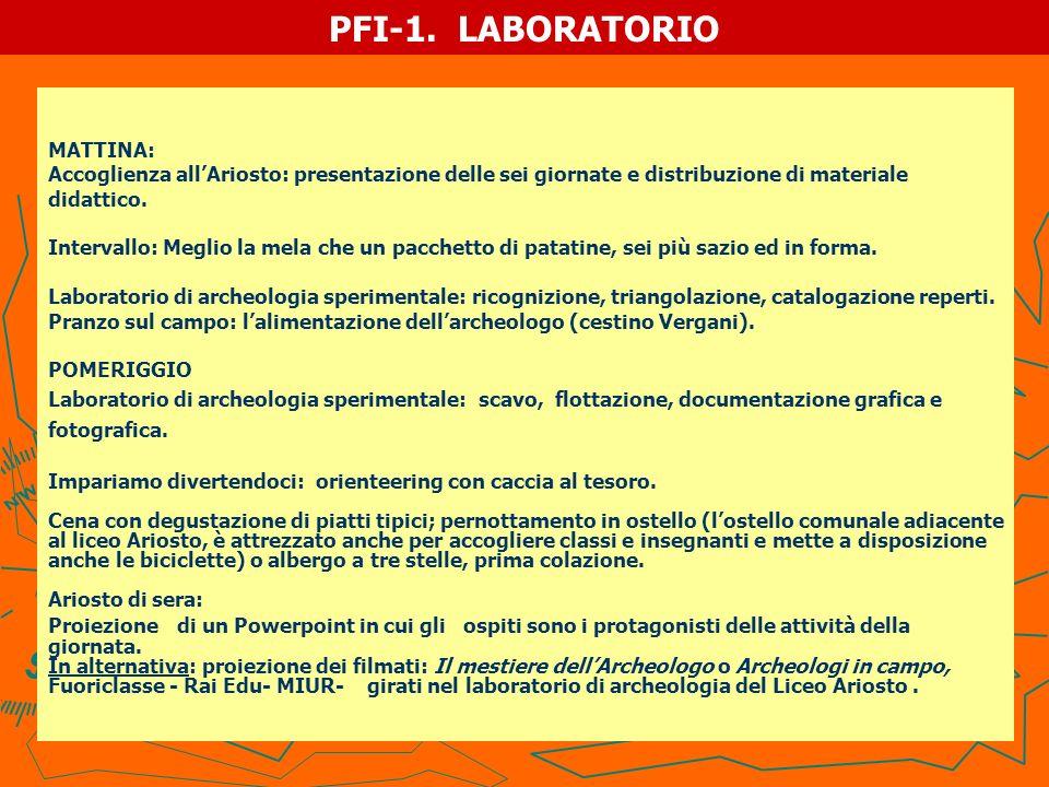 PFI-1. LABORATORIO MATTINA: Accoglienza allAriosto: presentazione delle sei giornate e distribuzione di materiale didattico. Intervallo: Meglio la mel