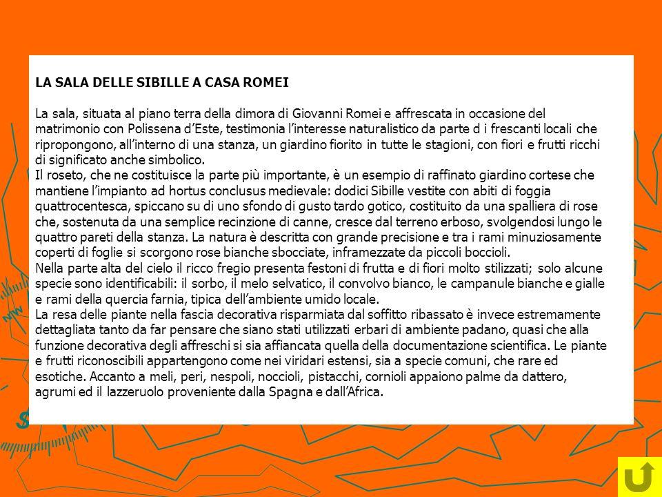 LA SALA DELLE SIBILLE A CASA ROMEI La sala, situata al piano terra della dimora di Giovanni Romei e affrescata in occasione del matrimonio con Polisse