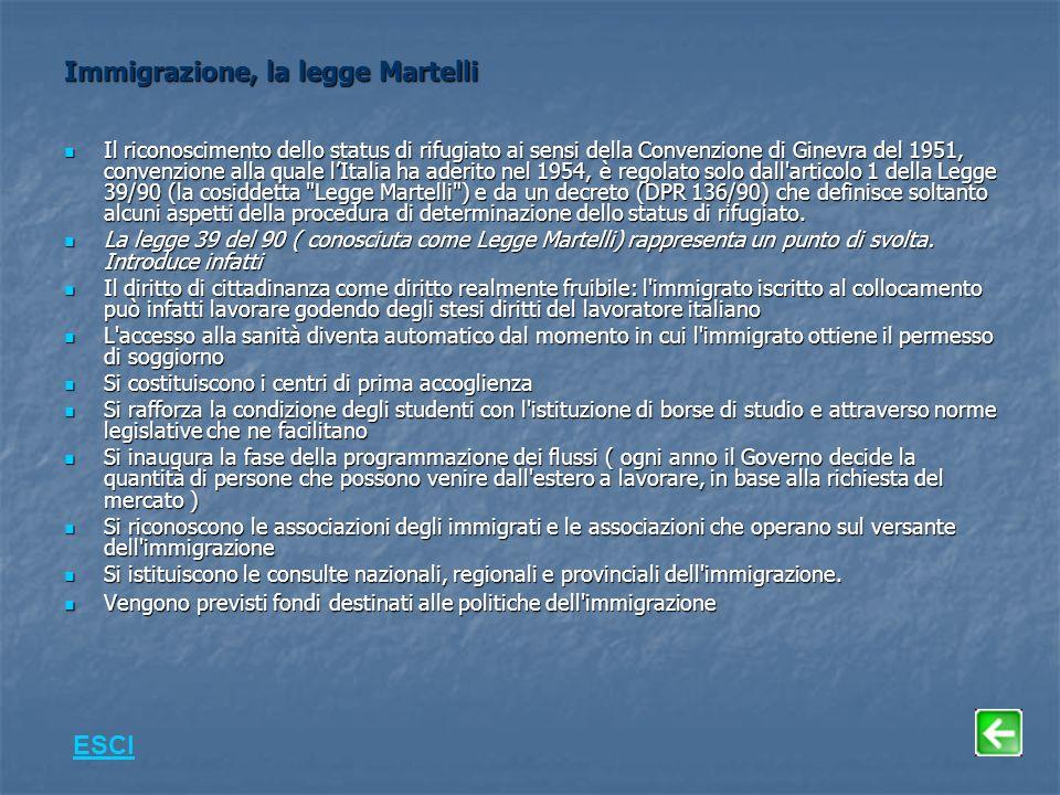 Immigrazione, la legge Martelli Il riconoscimento dello status di rifugiato ai sensi della Convenzione di Ginevra del 1951, convenzione alla quale lItalia ha aderito nel 1954, è regolato solo dall articolo 1 della Legge 39/90 (la cosiddetta Legge Martelli ) e da un decreto (DPR 136/90) che definisce soltanto alcuni aspetti della procedura di determinazione dello status di rifugiato.
