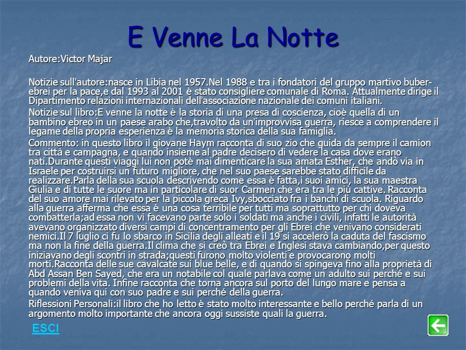 E Venne La Notte Autore:Victor Majar Notizie sull autore:nasce in Libia nel 1957.Nel 1988 e tra i fondatori del gruppo martivo buber- ebrei per la pace,e dal 1993 al 2001 è stato consigliere comunale di Roma.
