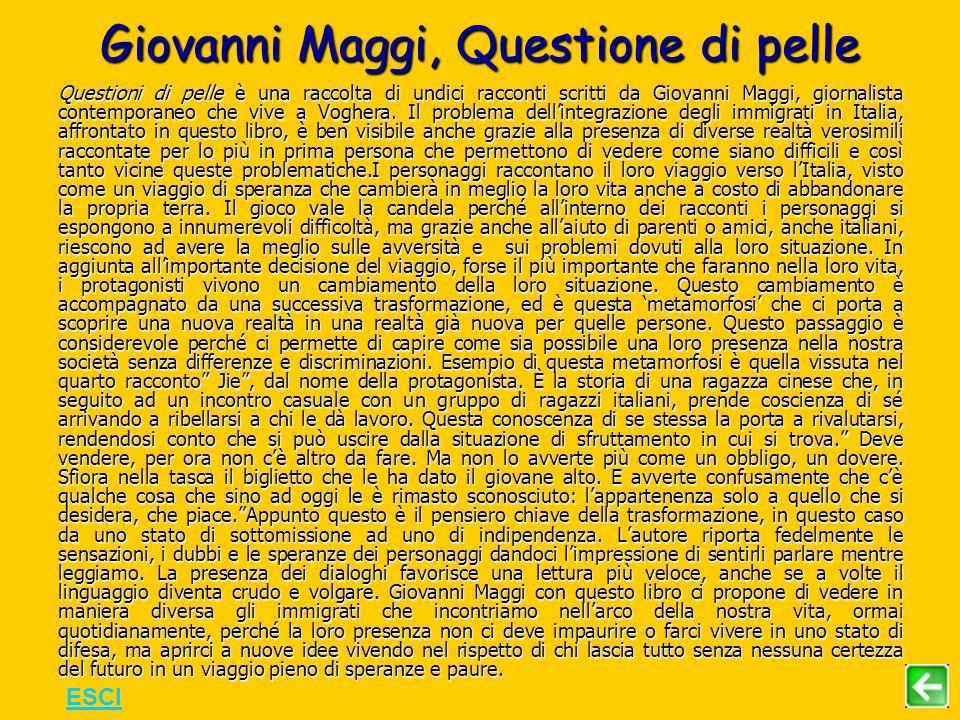 Giovanni Maggi, Questione di pelle Questioni di pelle è una raccolta di undici racconti scritti da Giovanni Maggi, giornalista contemporaneo che vive a Voghera.