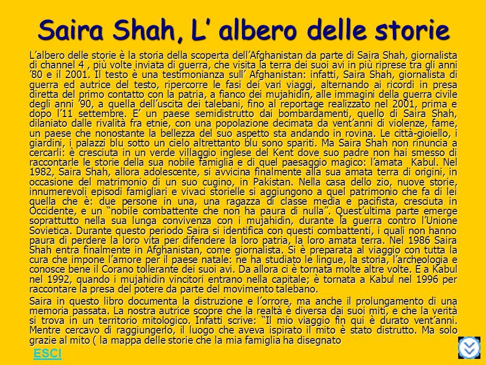 Saira Shah, L albero delle storie Lalbero delle storie è la storia della scoperta dellAfghanistan da parte di Saira Shah, giornalista di channel 4, più volte inviata di guerra, che visita la terra dei suoi avi in più riprese tra gli anni 80 e il 2001.