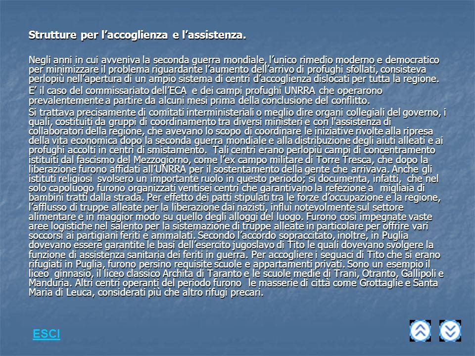 Strutture per laccoglienza e lassistenza.