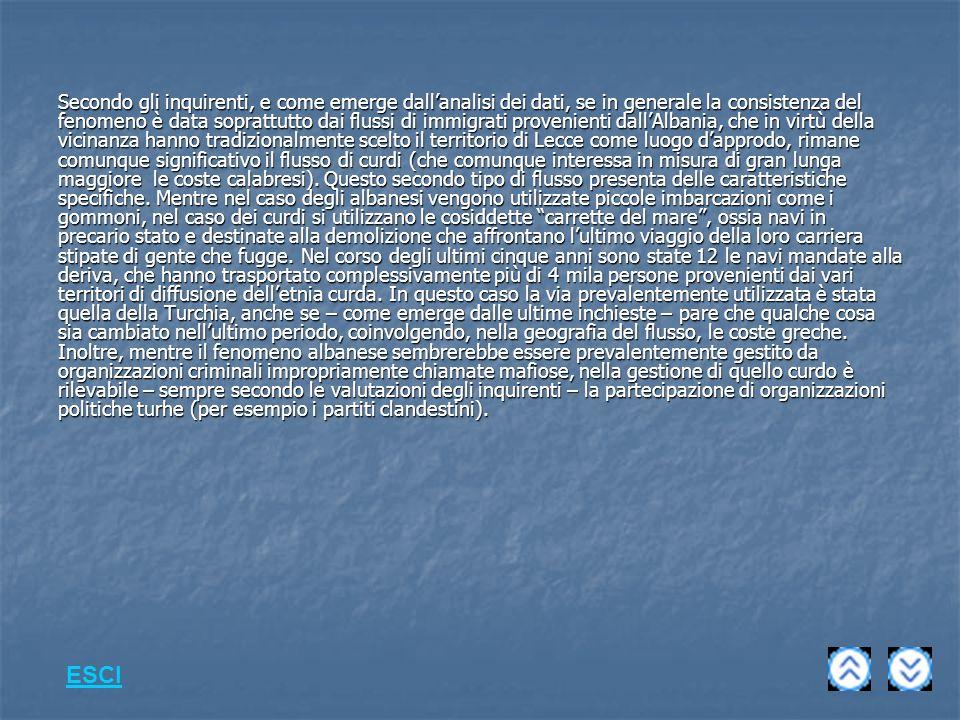 Secondo gli inquirenti, e come emerge dallanalisi dei dati, se in generale la consistenza del fenomeno è data soprattutto dai flussi di immigrati provenienti dallAlbania, che in virtù della vicinanza hanno tradizionalmente scelto il territorio di Lecce come luogo dapprodo, rimane comunque significativo il flusso di curdi (che comunque interessa in misura di gran lunga maggiore le coste calabresi).