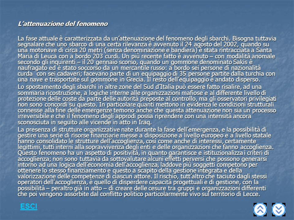 Lattenuazione del fenomeno La fase attuale è caratterizzata da unattenuazione del fenomeno degli sbarchi.