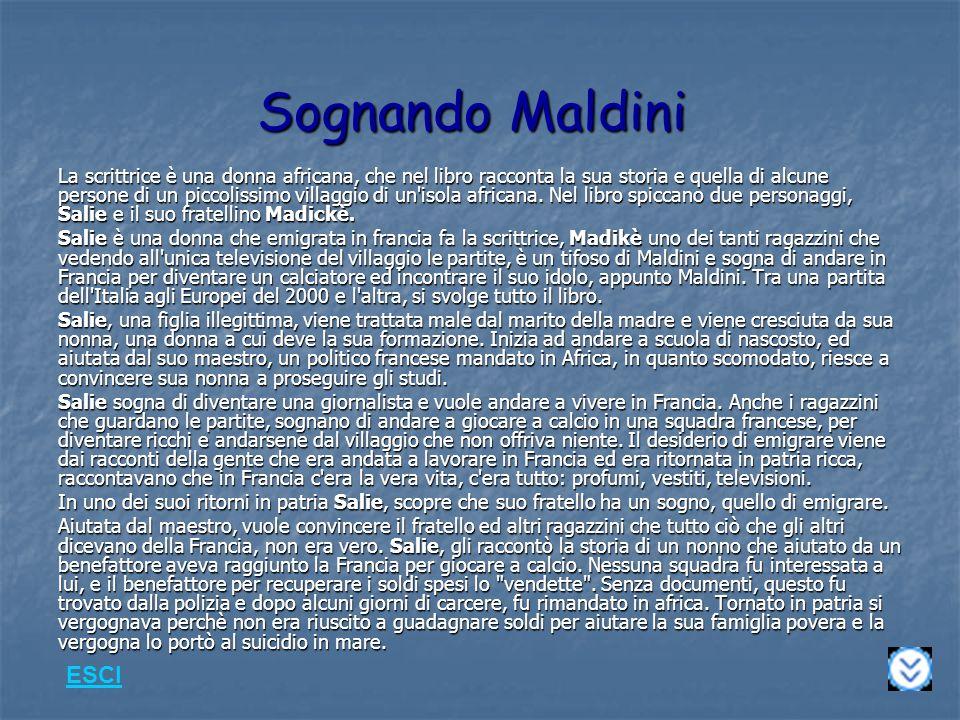 Sognando Maldini La scrittrice è una donna africana, che nel libro racconta la sua storia e quella di alcune persone di un piccolissimo villaggio di un isola africana.