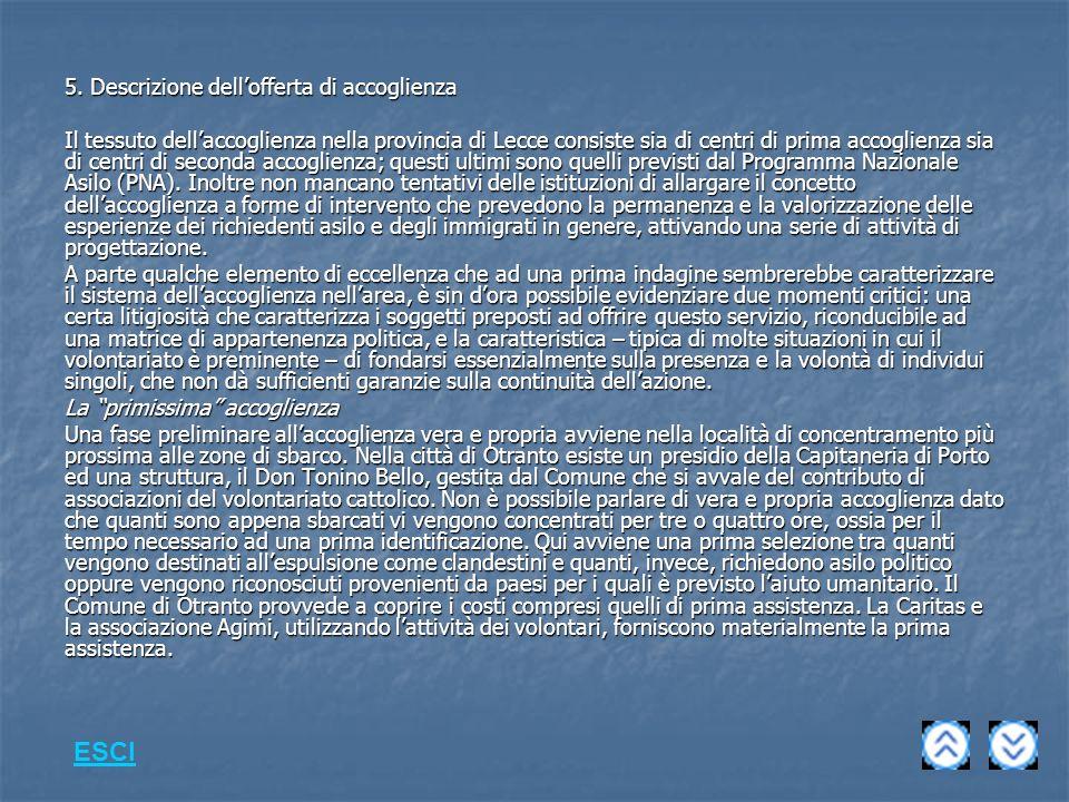 5. Descrizione dellofferta di accoglienza Il tessuto dellaccoglienza nella provincia di Lecce consiste sia di centri di prima accoglienza sia di centr