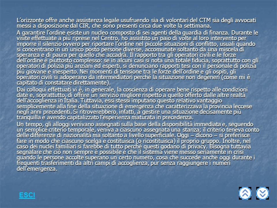 Lorizzonte offre anche assistenza legale usufruendo sia di volontari del CTM sia degli avvocati messi a disposizione dal CIR, che sono presenti circa due volte la settimana.