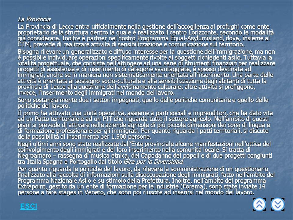 La Provincia La Provincia di Lecce entra ufficialmente nella gestione dellaccoglienza ai profughi come ente proprietario della struttura dentro la quale è realizzato il centro Lorizzonte, secondo le modalità già considerate.