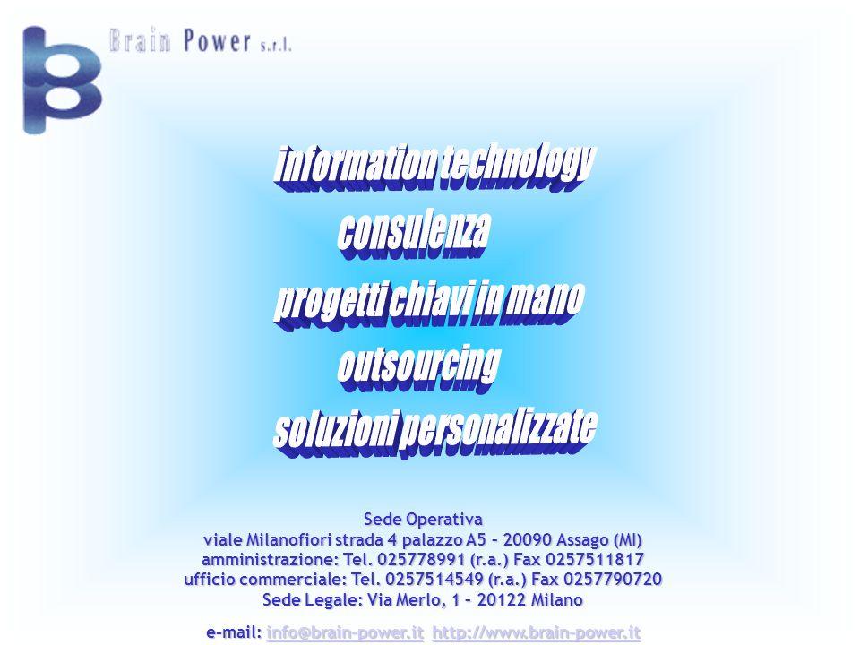 Sede Operativa viale Milanofiori strada 4 palazzo A5 – 20090 Assago (MI) amministrazione: Tel. 025778991 (r.a.) Fax 0257511817 ufficio commerciale: Te