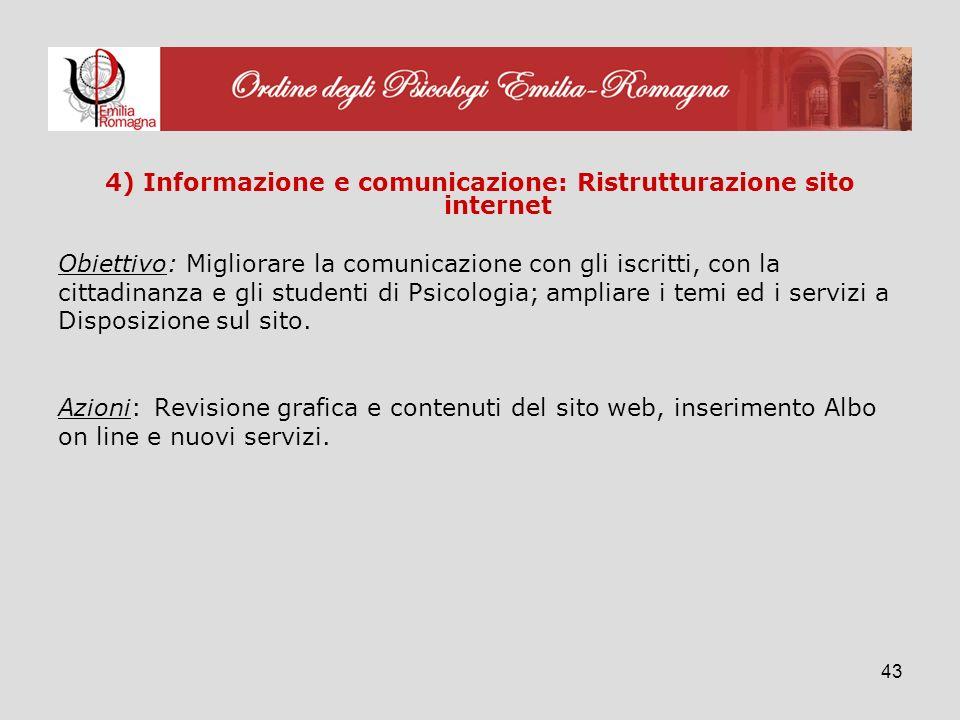 43 4) Informazione e comunicazione: Ristrutturazione sito internet Obiettivo: Migliorare la comunicazione con gli iscritti, con la cittadinanza e gli studenti di Psicologia; ampliare i temi ed i servizi a Disposizione sul sito.