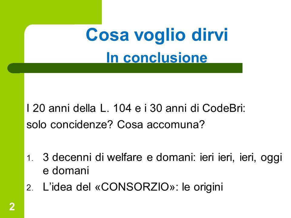 Cosa voglio dirvi In conclusione I 20 anni della L. 104 e i 30 anni di CodeBri: solo concidenze? Cosa accomuna? 1. 3 decenni di welfare e domani: ieri