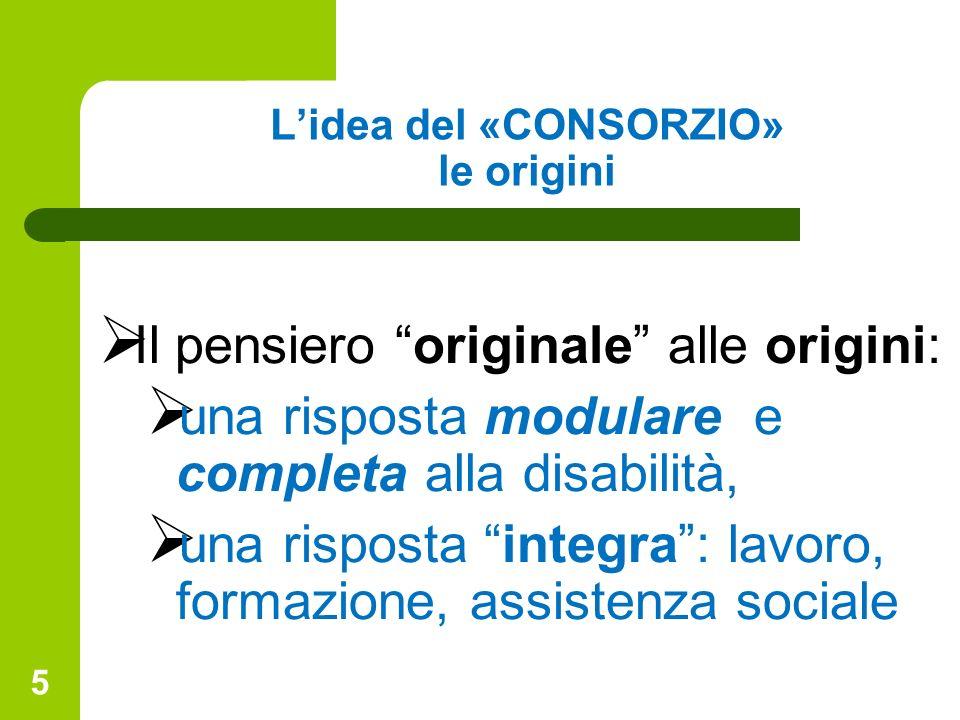 5 Lidea del «CONSORZIO» le origini Il pensiero originale alle origini: una risposta modulare e completa alla disabilità, una risposta integra: lavoro,