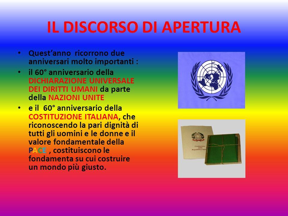 IL DISCORSO DI APERTURA Questanno ricorrono due anniversari molto importanti : il 60° anniversario della DICHIARAZIONE UNIVERSALE DEI DIRITTI UMANI da