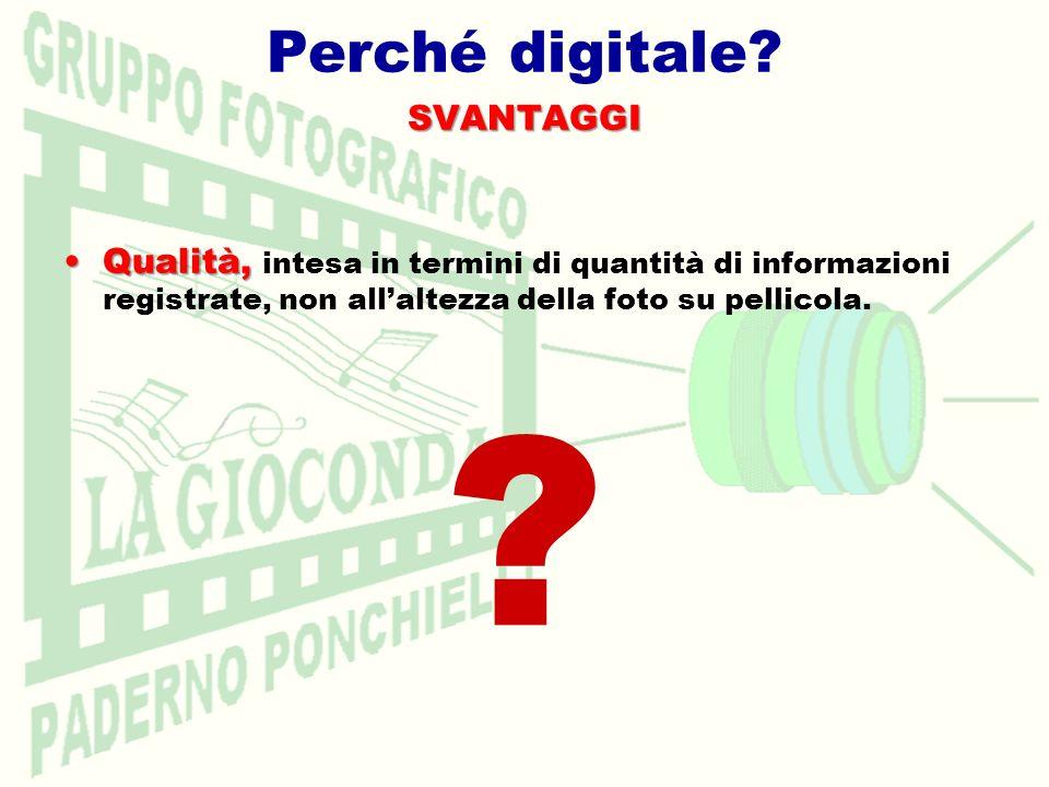 Perché digitale?SVANTAGGI Qualità,Qualità, intesa in termini di quantità di informazioni registrate, non allaltezza della foto su pellicola.