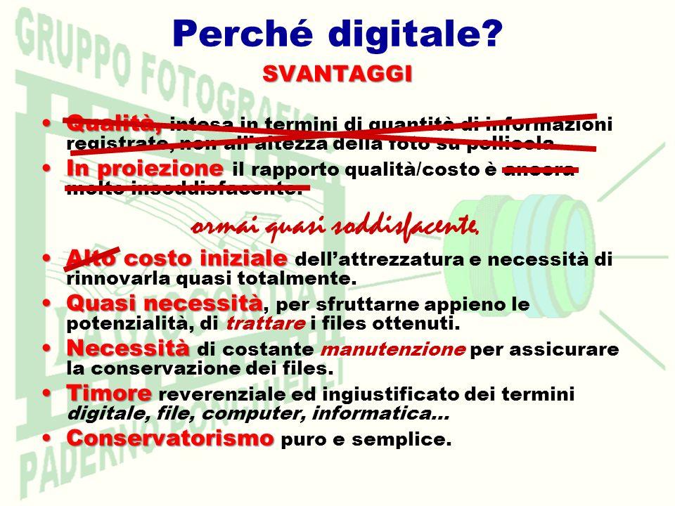 Perché digitale?SVANTAGGI Qualità,Qualità, intesa in termini di quantità di informazioni registrate, non allaltezza della foto su pellicola. In proiez