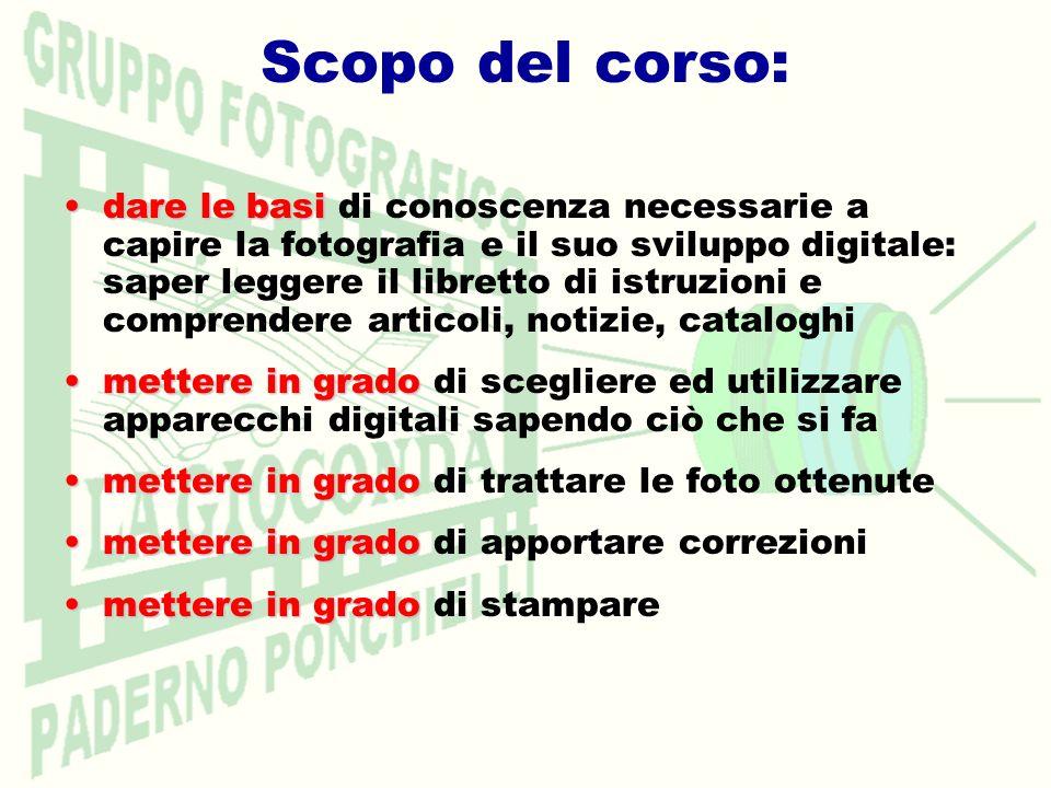 dare le basidare le basi di conoscenza necessarie a capire la fotografia e il suo sviluppo digitale: saper leggere il libretto di istruzioni e compren