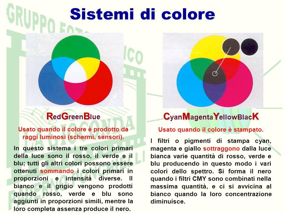 Sistemi di colore RGB R ed G reen B lue Usato quando il colore è prodotto da raggi luminosi (schermi, sensori). In questo sistema i tre colori primari