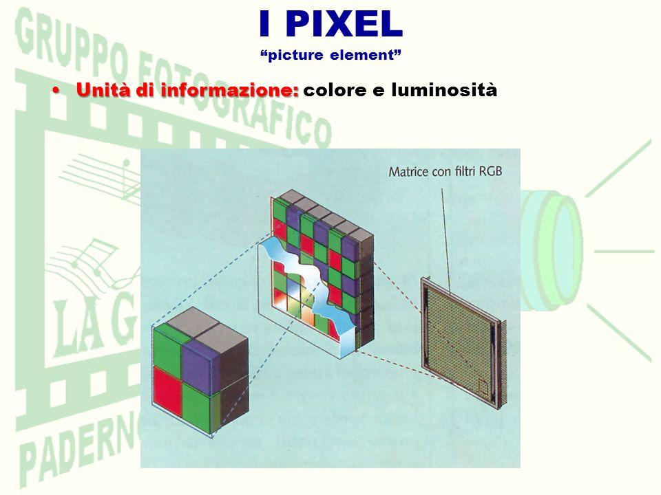 I PIXEL picture element Unità di informazione:Unità di informazione: colore e luminosità