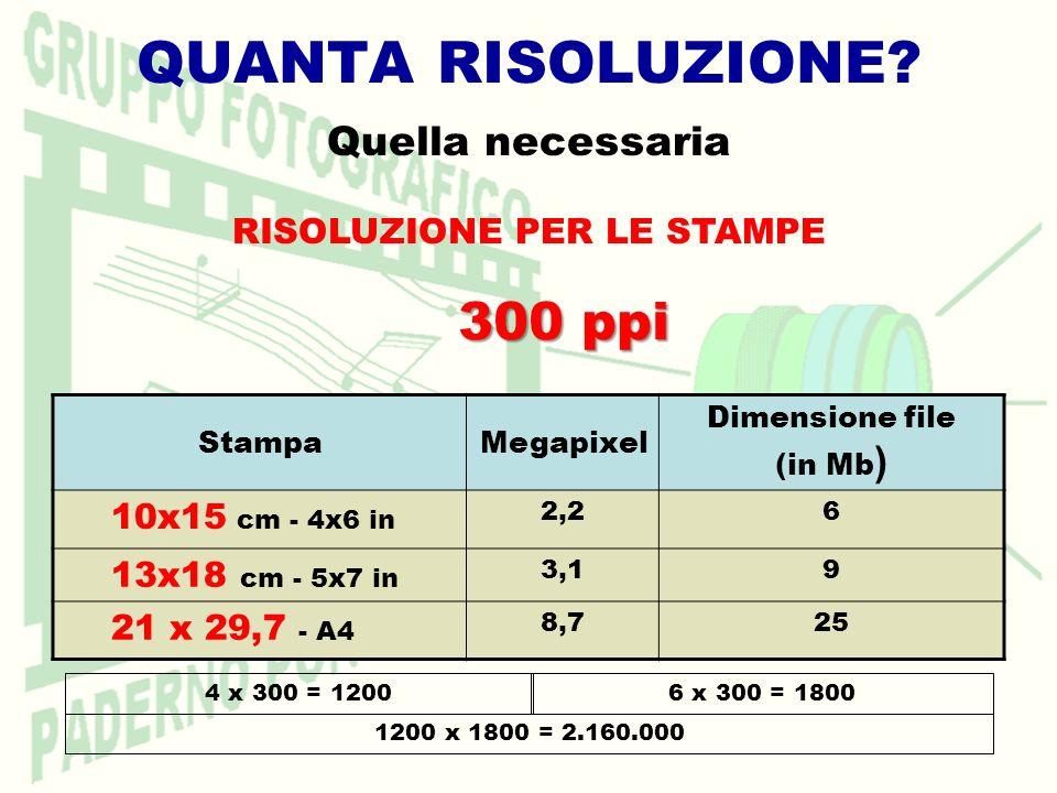 QUANTA RISOLUZIONE? Quella necessaria RISOLUZIONE PER LE STAMPE StampaMegapixel Dimensione file (in Mb ) 10x15 cm - 4x6 in 2,26 13x18 cm - 5x7 in 3,19