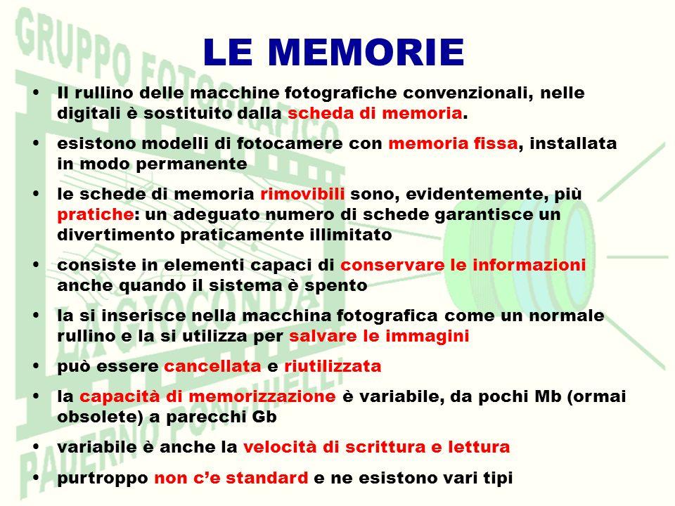 LE MEMORIE Il rullino delle macchine fotografiche convenzionali, nelle digitali è sostituito dalla scheda di memoria. esistono modelli di fotocamere c