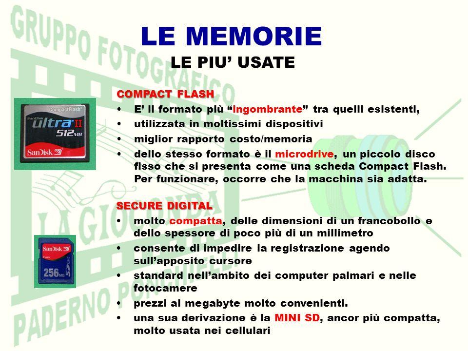 LE MEMORIE COMPACT FLASH E il formato più ingombrante tra quelli esistenti, utilizzata in moltissimi dispositivi miglior rapporto costo/memoria dello stesso formato è il microdrive, un piccolo disco fisso che si presenta come una scheda Compact Flash.