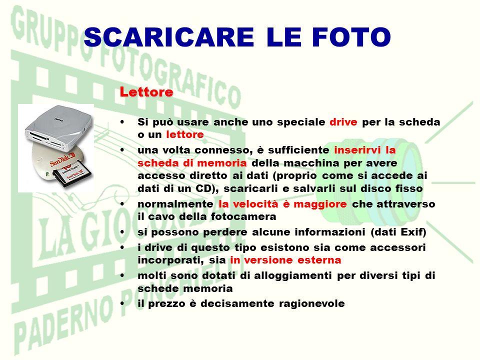 SCARICARE LE FOTO Lettore Lettore Si può usare anche uno speciale drive per la scheda o un lettore una volta connesso, è sufficiente inserirvi la sche